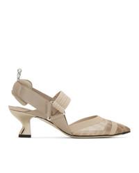 Бежевые туфли в сеточку от Fendi