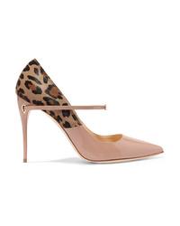 Бежевые туфли из ворса пони с леопардовым принтом
