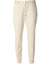 Бежевые узкие брюки