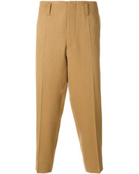 Бежевые шерстяные брюки чинос