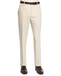 Бежевые шерстяные классические брюки