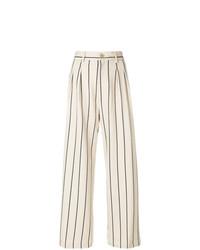 Бежевые широкие брюки в вертикальную полоску от Erika Cavallini