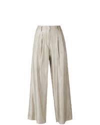 Бежевые широкие брюки в вертикальную полоску от Forte Forte