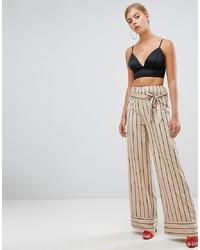 Бежевые широкие брюки в вертикальную полоску от Missguided