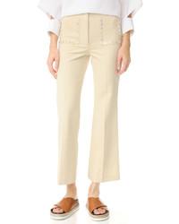 Женские бежевые широкие брюки от Edun
