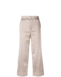 Бежевые широкие брюки от Pt01