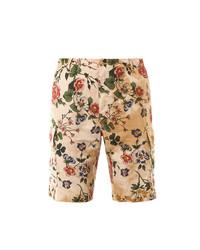 Бежевые шорты с цветочным принтом