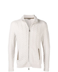 Бежевый вязаный свитер на молнии