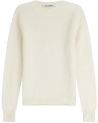 Бежевый вязаный свитер с круглым вырезом