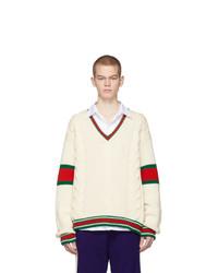 Мужской бежевый вязаный свитер от Gucci