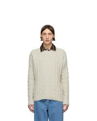 Мужской бежевый вязаный свитер от Loewe