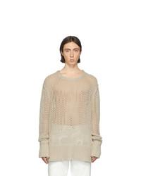 Мужской бежевый вязаный свитер от Maison Margiela