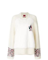 Женский бежевый вязаный свитер от Moncler