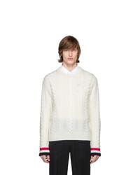 Мужской бежевый вязаный свитер от Thom Browne