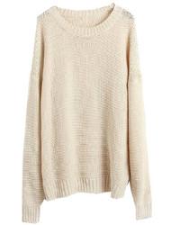 Бежевый вязаный свободный свитер