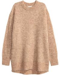 Женский бежевый вязаный свободный свитер от H&M