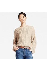 Женский бежевый вязаный свободный свитер от Uniqlo