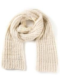 Бежевый вязаный шарф