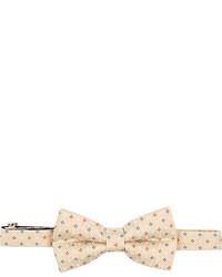 Бежевый галстук-бабочка с цветочным принтом