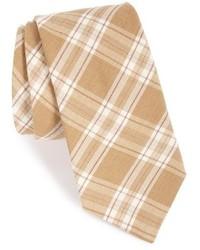 Бежевый галстук в шотландскую клетку