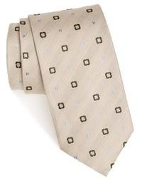 Бежевый галстук с принтом