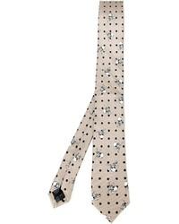 Мужской бежевый галстук с принтом от Dolce & Gabbana