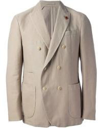 Бежевый двубортный пиджак