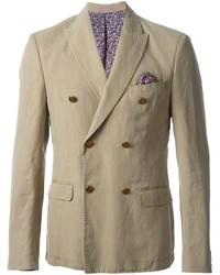 Мужской бежевый двубортный пиджак