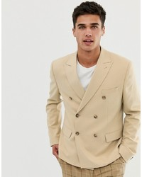 Мужской бежевый двубортный пиджак от ASOS DESIGN