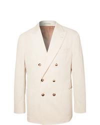 Мужской бежевый двубортный пиджак от Brunello Cucinelli