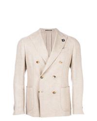 Мужской бежевый двубортный пиджак от Lardini