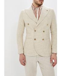 Мужской бежевый двубортный пиджак от Primo Emporio