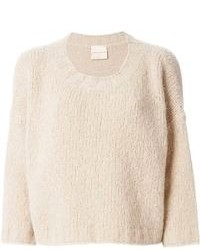 Бежевый короткий свитер