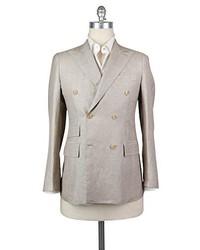 Бежевый льняной двубортный пиджак