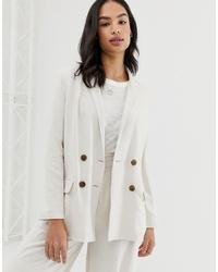 Женский бежевый льняной двубортный пиджак от ASOS DESIGN