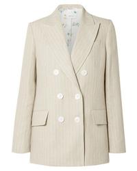 Бежевый льняной пиджак в вертикальную полоску
