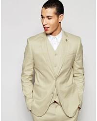 Мужской бежевый льняной пиджак от Asos