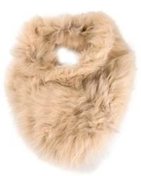 Бежевый меховой шарф