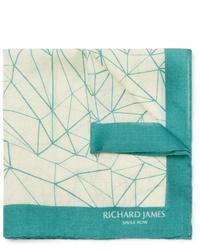 Бежевый нагрудный платок с принтом от Richard James