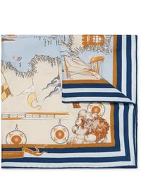 Бежевый нагрудный платок с принтом от Rubinacci