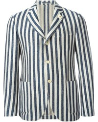 Мужской бежевый пиджак в вертикальную полоску от Lardini