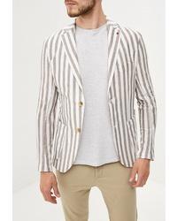 Мужской бежевый пиджак в вертикальную полоску от Primo Emporio