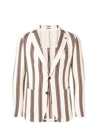 Мужской бежевый пиджак в вертикальную полоску от Tagliatore