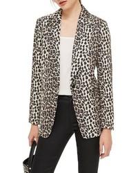 Бежевый пиджак с леопардовым принтом
