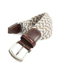 Бежевый плетеный ремень из плотной ткани