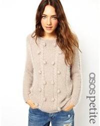 Женский бежевый пушистый свитер с круглым вырезом от Asos Petite