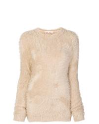 Женский бежевый пушистый свитер с круглым вырезом от Marni
