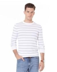 Бежевый свитер с круглым вырезом в горизонтальную полоску