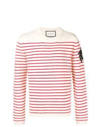 Мужской бежевый свитер с круглым вырезом в горизонтальную полоску от Gucci