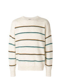 Мужской бежевый свитер с круглым вырезом в горизонтальную полоску от Isabel Marant
